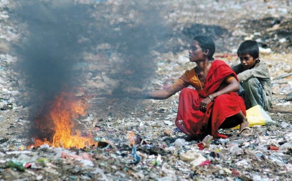 Burning waste in India