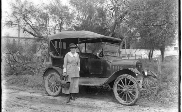 Mrs. Gagne beside a Model T