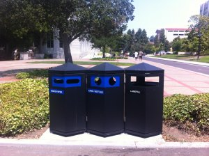 3 trash bins