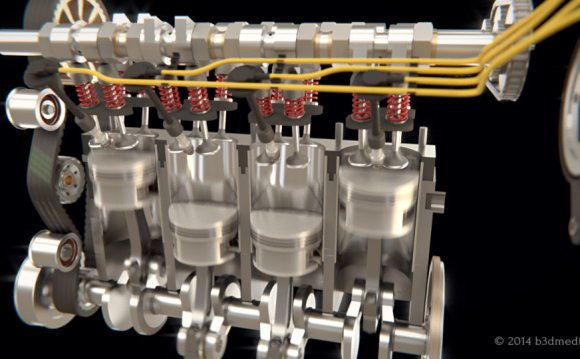 4 stroke IC engine animation