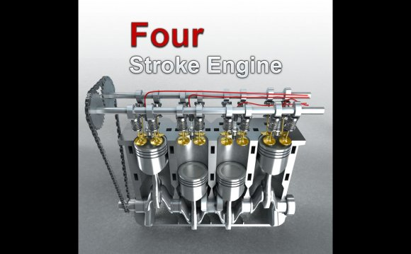 Animation of four stroke engine