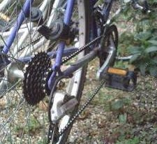Rear wheel of a bicycle showing pedal and gears
