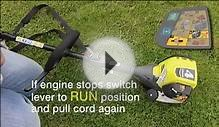 How to Start Ryobi Petrol 4 Cycle Engine Line Trimmer and