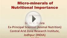 Macro- And Micro-Minerals of Nutritional Importance
