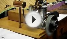 Miniature Homemade 10 cc model four stroke gas engine run.wmv