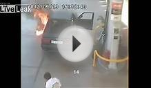Spontaneous combustion of car at a gas station